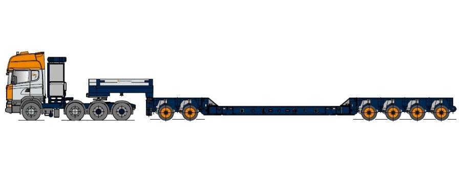 Низкорамная платформа для перевозки цистерн с осевым модулем и встроенными опорами