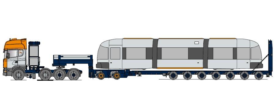 Рельсовый низкорамный полуприцеп с осевым модулем и гидравлической наклонной платформой, многократно телескопически выдвижной