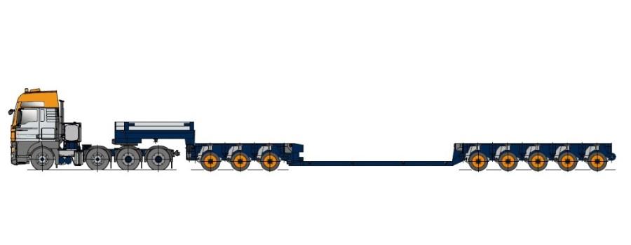 Низкорамная платформа с осевым модулем, телескопически выдвижная